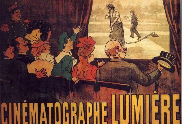 Affiche publicitaire pour une projection du cinématographe Lumière.