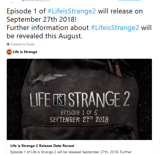 Date de sortie Life is Strange 2