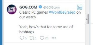 GOG WontBeErased hashtag twitter